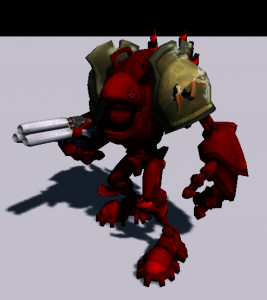 Robot turned red using the new shader feature